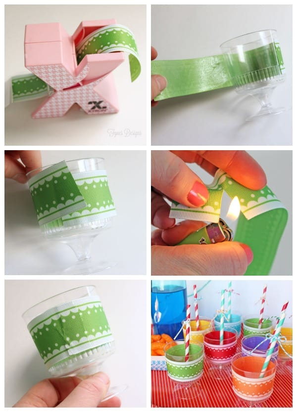 How to add ribbon to glasses for parties, fun and inexpensive idea! #party #rainbow #xyron #mayartsribbon