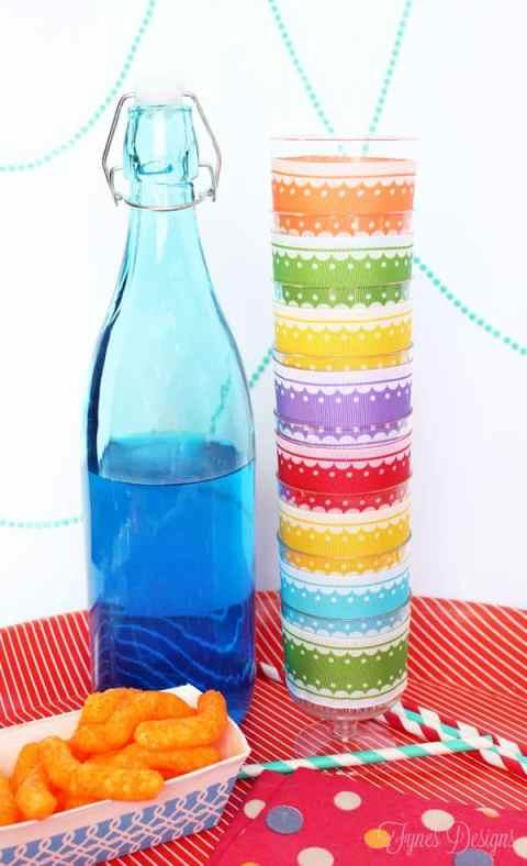Decorated Plastic cups with Ribbon #MayArtsRibbon #xyron #party #drinks