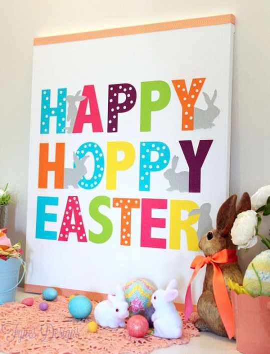 Easy Easter Canvas #mayartsribbon #xyron #michaels #dcwv #silhouette