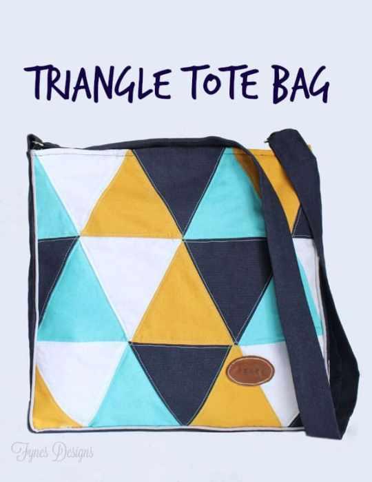 Fun pillow inspired tote bag #sewing #geometric #navy #teal #mustard