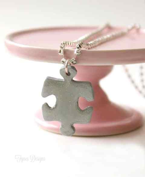 DIY puzzle piece necklace from Sculpty clay