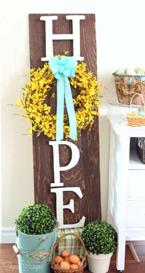 Easter wooden wreath sign #minwax #easter #mayartsribbon #forsythia