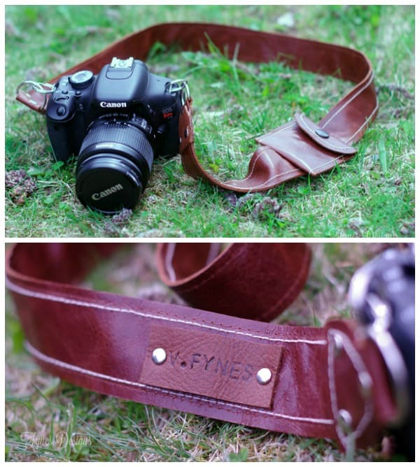 Easy Leather camera strap pattern with a lens cap pocket