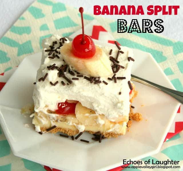 Delicious Banana Split Bars from echoesoflaughter.ca