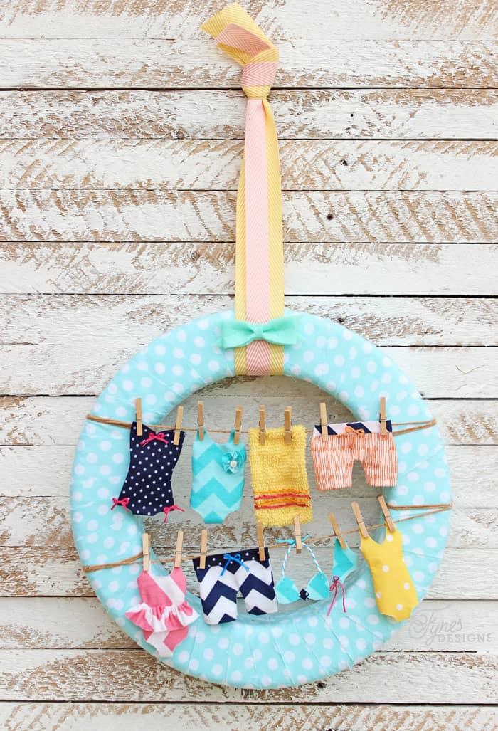 Swimsuit clothesline wreath- super fun