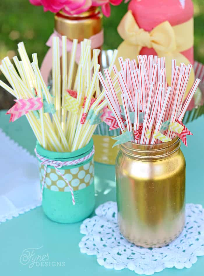 Regular dollar store multi-color straws with a washi tape flag