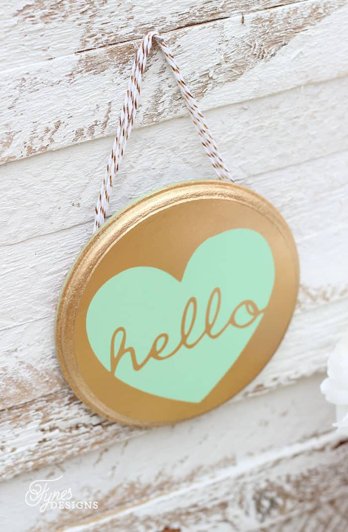 Gold and Mint hello wall decor from a $2 #Michaels wood plaque