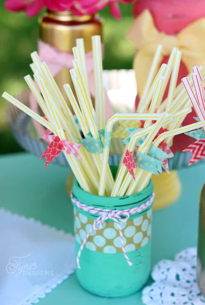Add washi tape flags to regular plastic straws, Awesome cheap party idea