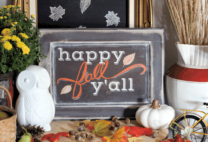 Happy Fall Y'all Painted sign. Free Silhouette cut file