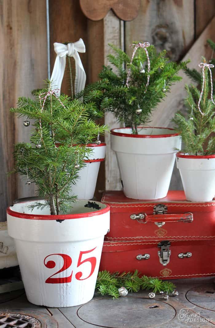 Enamel inspired Vintage Christmas tree pots