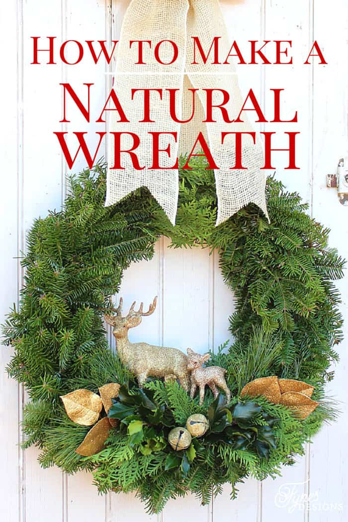 Easy to follow tutorial - How to make a natural Christmas wreath, a tutorial featured by top US life and style blog, Fynes Designs | Swag Wreath by popular Canada DIY blog, Fynes Designs: Pinterest image of a natural wreath.