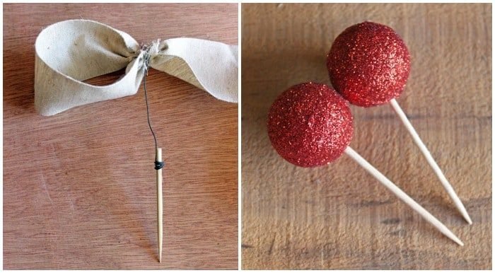 How to attach ornaments to a wreath | Christmas Wreath by popular Canada DIY blog, Fynes Designs: image of a toothpick with floral wire wrapped around it and red glitter berries attached to the top of toothpicks.