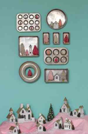 Christmas kitchen baking pan gallery wall and christmas village