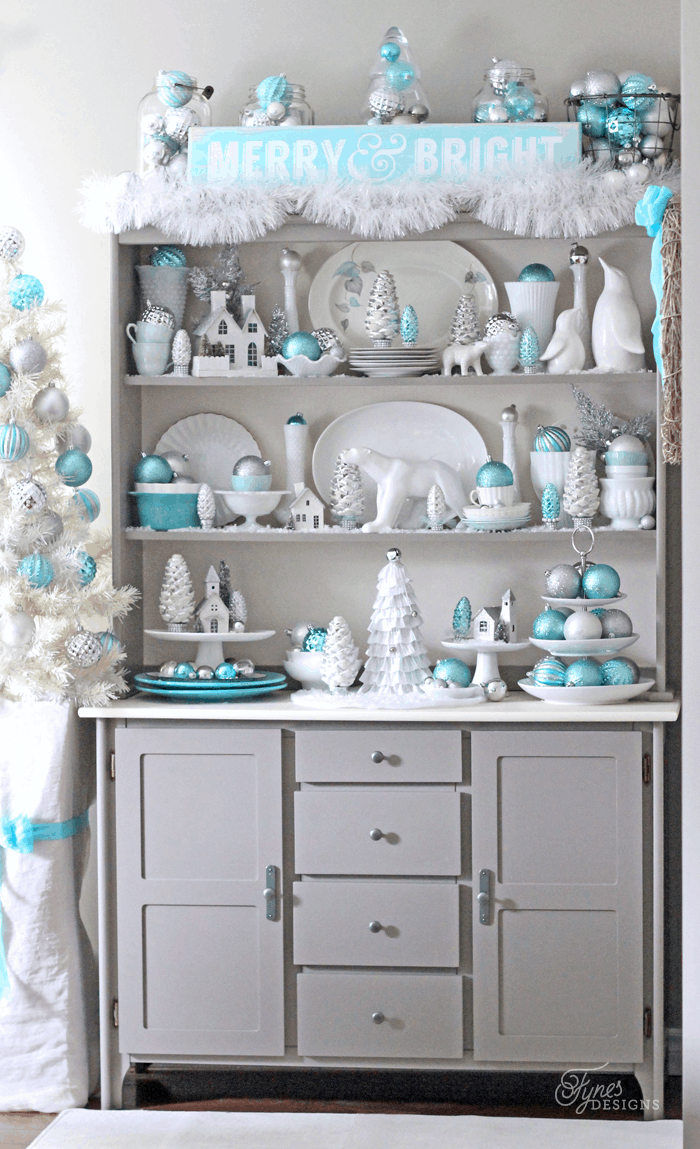 Bright and sparkling Christmas hutch