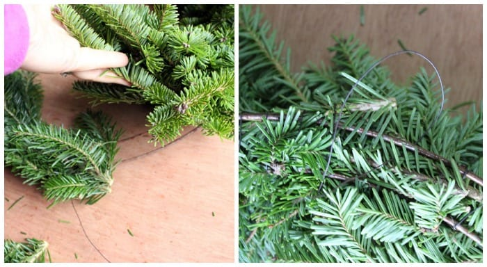 finishing a natural wreath | Christmas Wreath by popular Canada DIY blog, Fynes Designs: image of a pine tree branch being attached to a flat ring with floral wire.