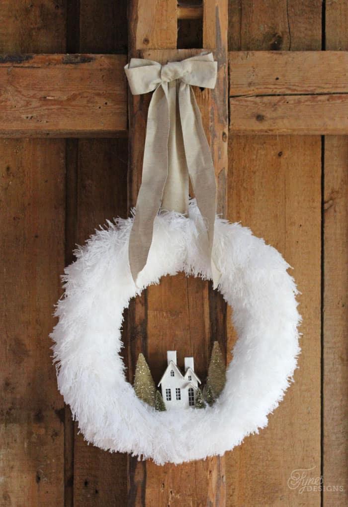 Fluffy Village Christmas Wreath Fynes Designs