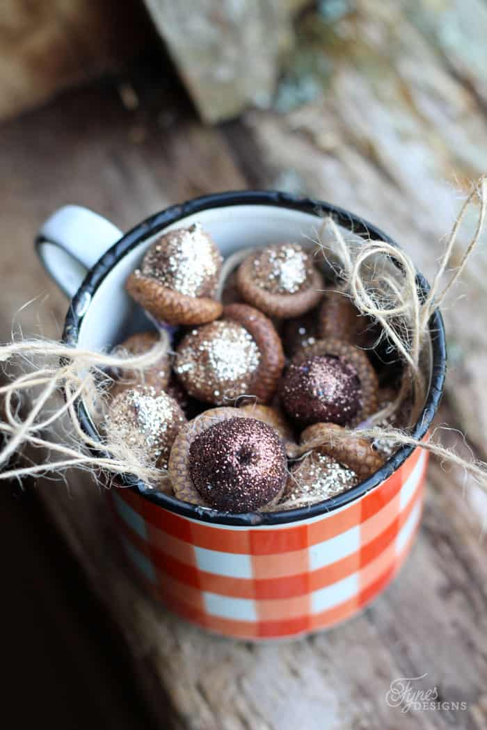 Rustic Glittered accorns