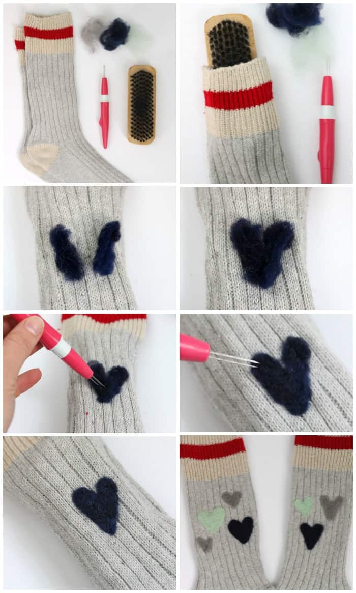 How to add cute needle felted pattern to your wool socks -makes a great gift idea