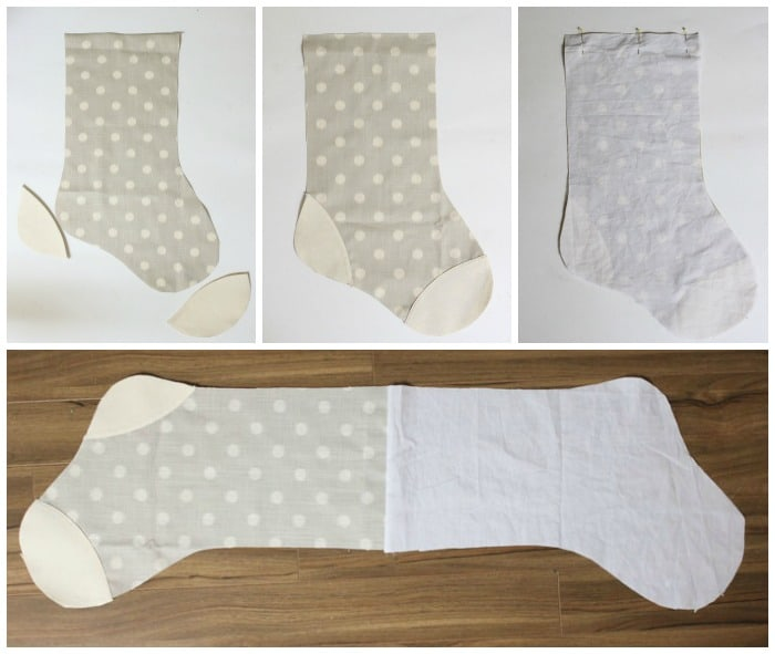 How to make personalized Christmas stockings  DIY Personalized Christmas Stockings by popular Canada DIY blog, Fynes Designs: collage image of a grey and white stocking being assembled.