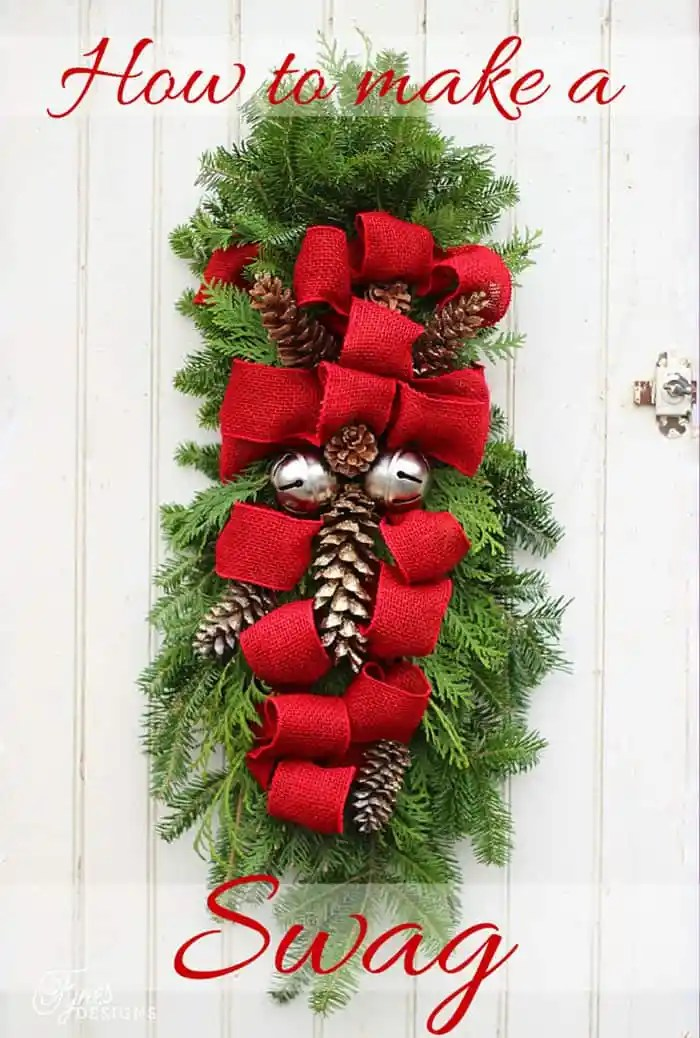 How to make a Christmas Door swag. Easy to follow instructions | Christmas Wreath by popular Canada DIY blog, Fynes Designs: image of a Christmas swag.