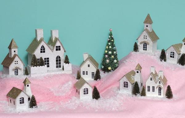 A Vintage Modern Christmas Village #MerryMag