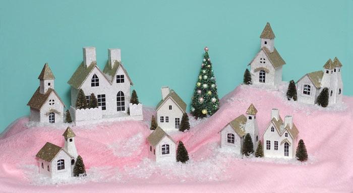 glittery pink Christmas village