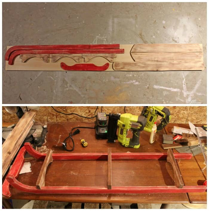 $10 DIY Wooden Sled Tutorial featured by top US craft blog, Fynes Designs: image of sled pattern pieces |DIY Wooden Sled by popular Canada DIY blog, Fynes Designs: image of a vintage inspired DIY wooden sled being assembled in a work shop.