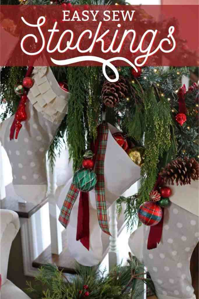 Easy to Sew Handmade Christmas Stockings, with a free template |Joy Sign by popular DIY Canada blog: Pinterest image of now sew stockings.