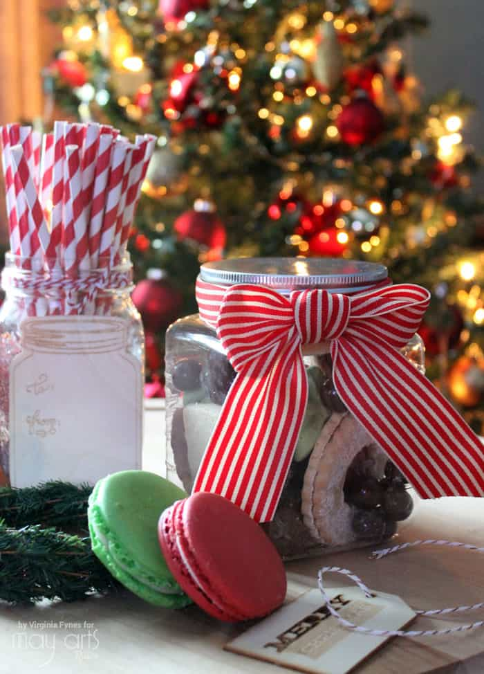 Ribbon wrapped cookie jars