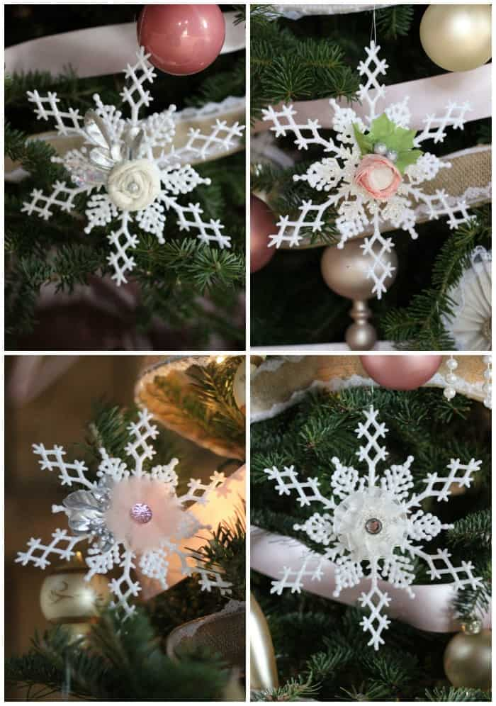 floral Snowflake craft for Christmas decorations