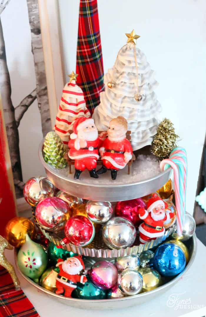Vintage Santa and ornaments Fynes Designs Christmas Home Tour