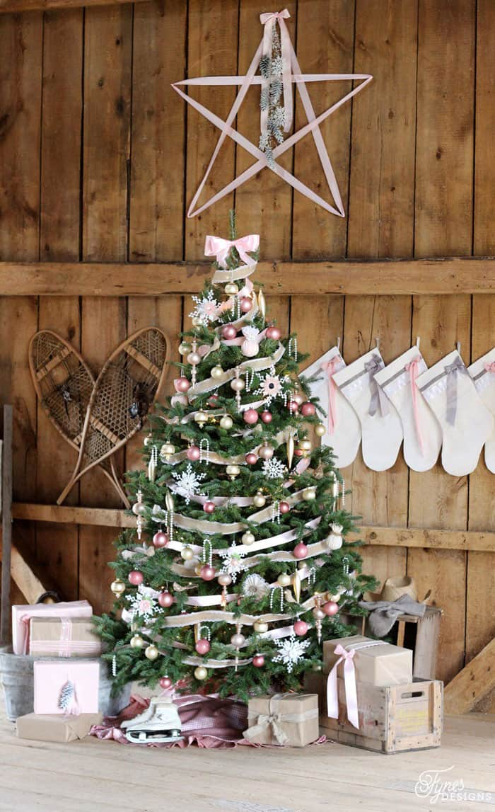 Vintage pink Christmas bulbs