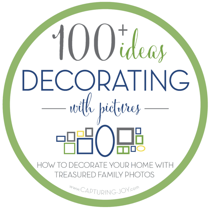 100's of ideas for decorating with Family Photos