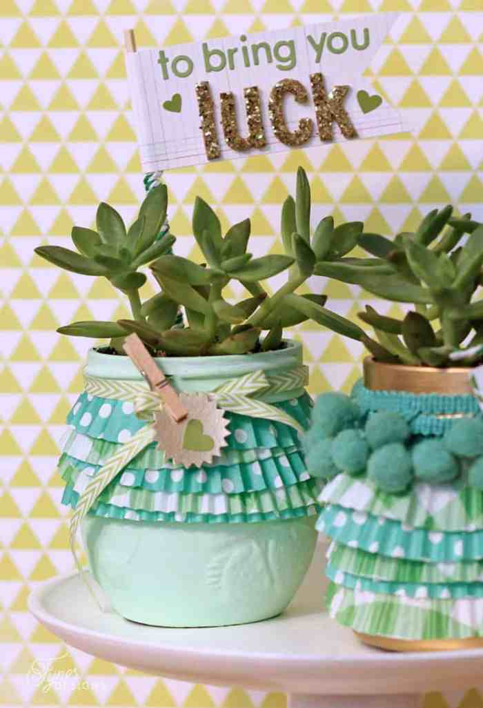 St. Patricks Day succulent in a mason Jar