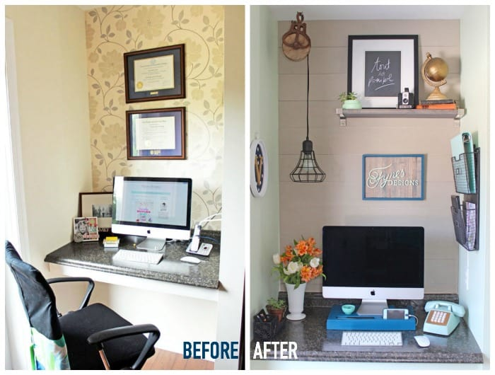 before and after small home office makover