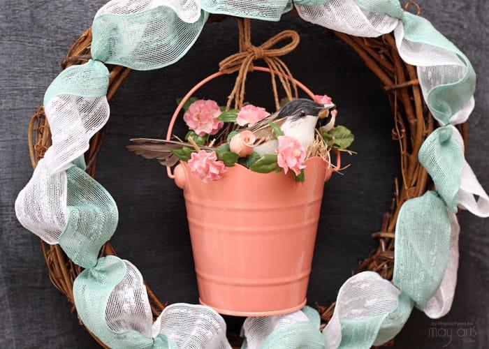 Sweet Spring Bird in a pail wreath
