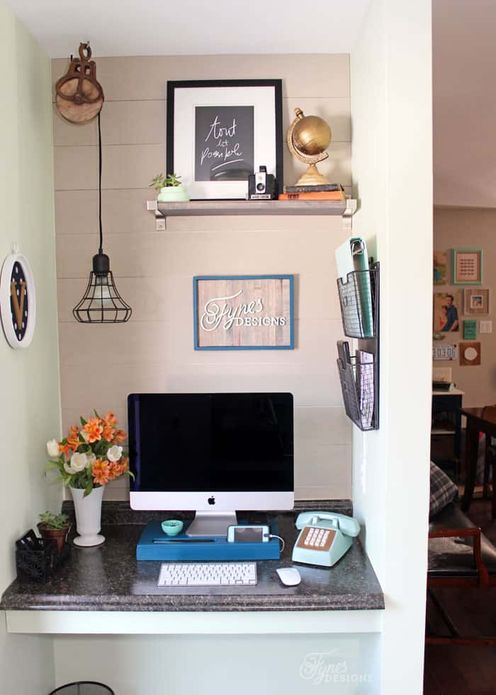 This home office is only 4 feet wide, but is very functional. Small home office makeover