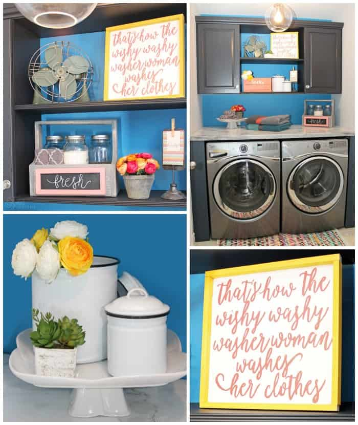 A small space laundry room makeover done in a weekend- Stop by the Home Depot to grab what you need!