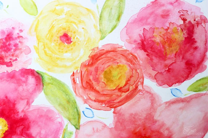 beginner watercoloring large florals