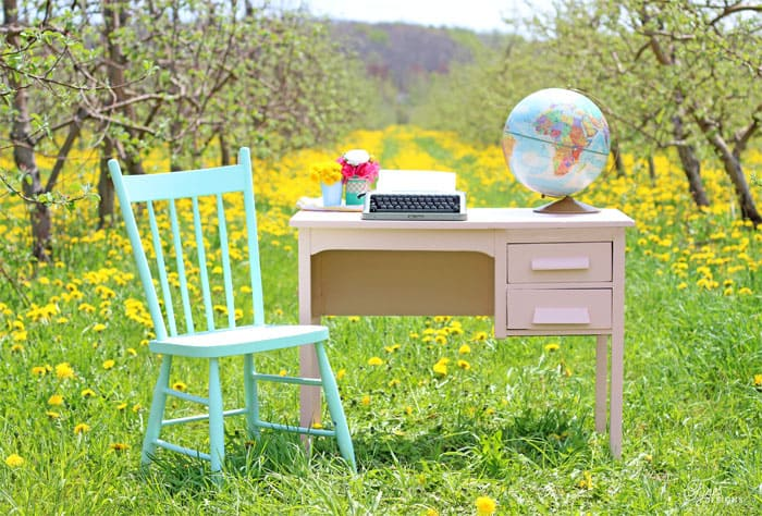 Summer writing desk nestled in an orchard