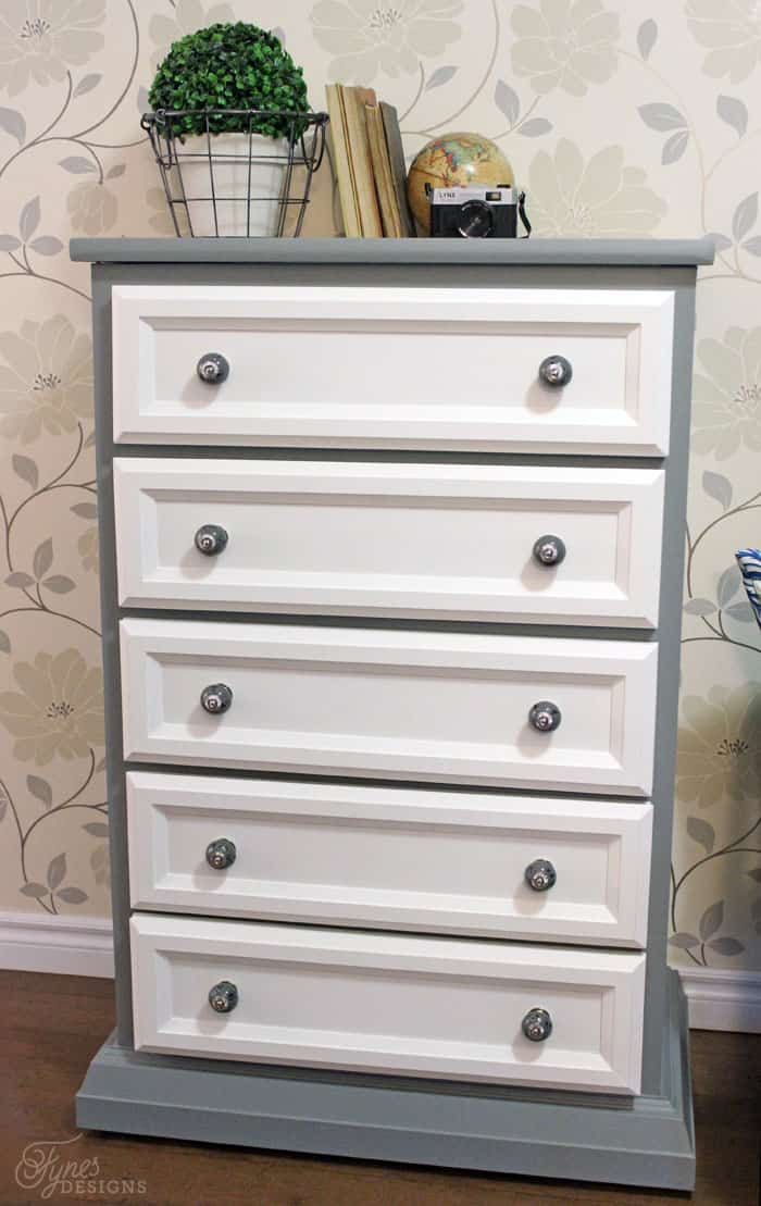 Tall Dresser Makeover Tutorial With Trim And Paint   FYNES DESIGNS | FYNES  DESIGNS