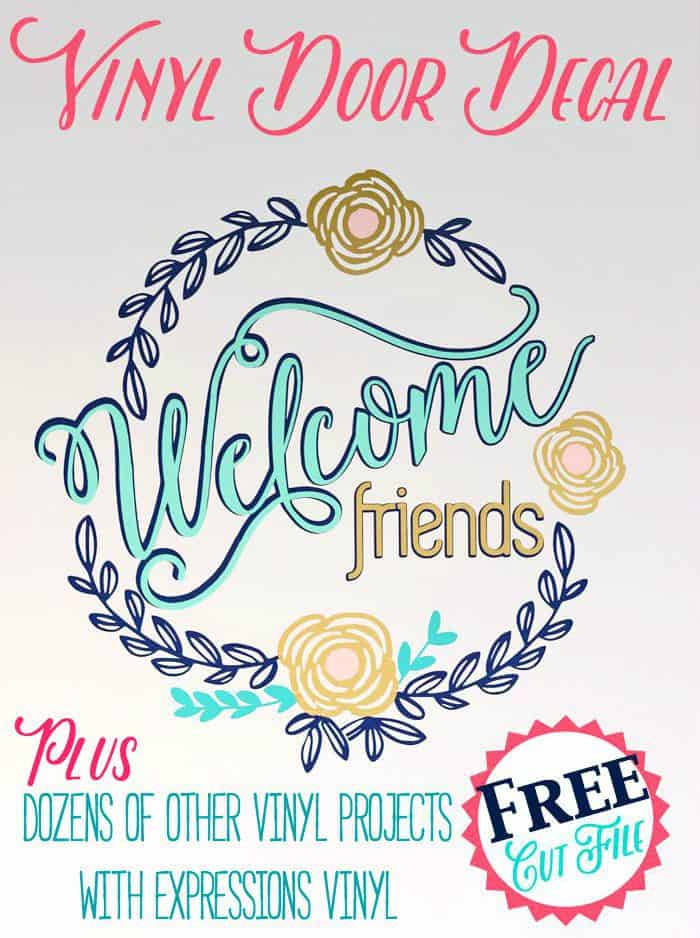 Get this Welcome Friends Vinyl Door Decal Silhouette cut file for free!! Plus DOZENS of other Expressions Vinyl ideas