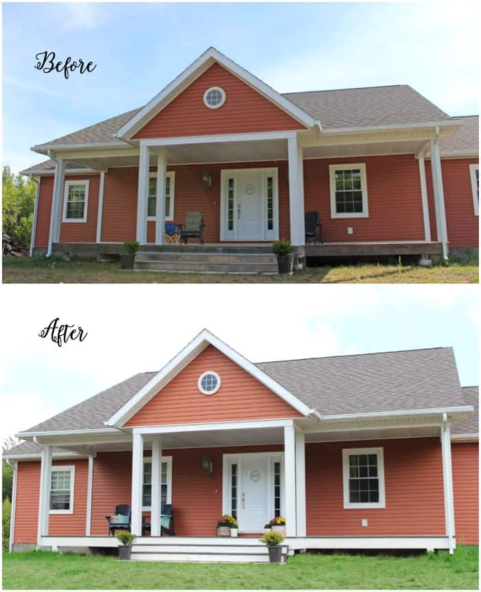 Before an after staining an old weathered deck. Amazing results in just one day!