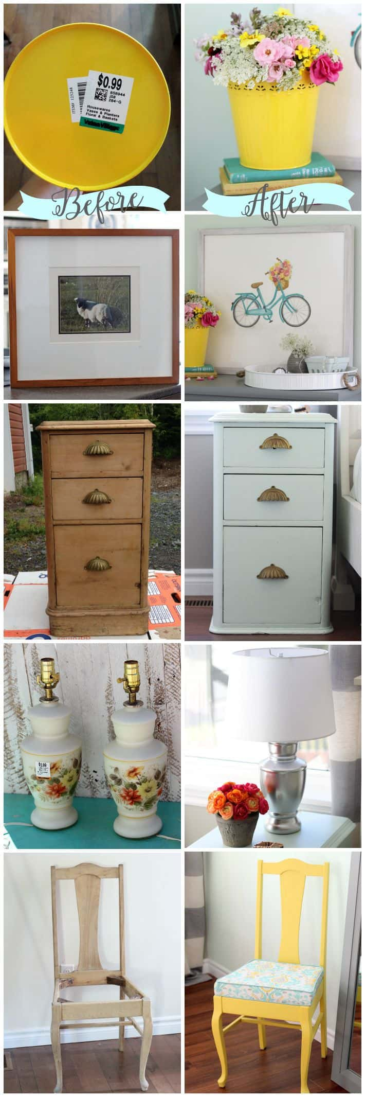 Before and After thrift store finds- the power of paint!