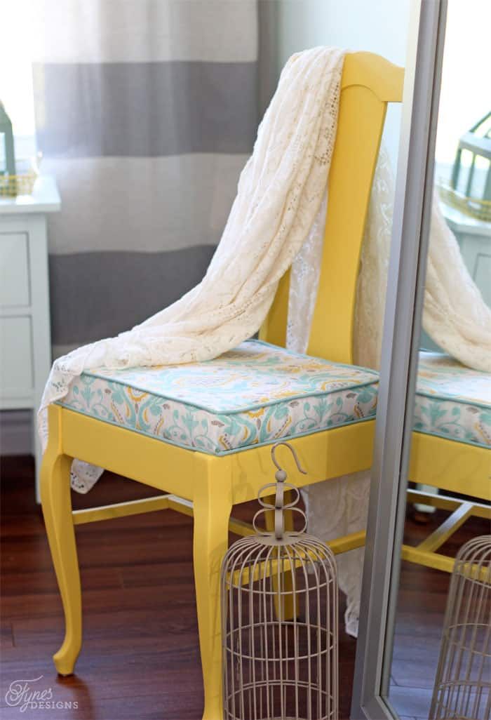 Yellow thrift store chair makeover