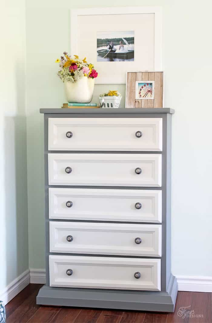 Tall dresser makeover using just paint and trim work, you won't believe the before