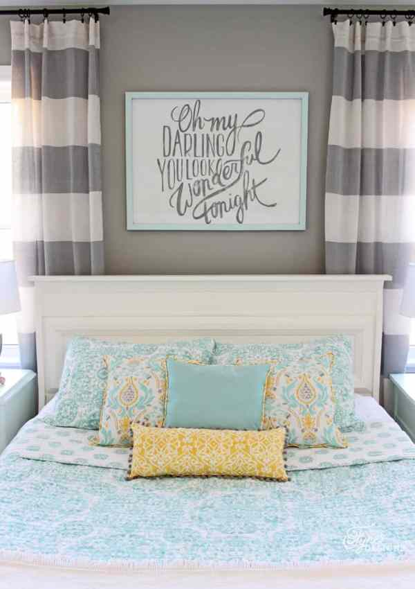 Blue, yellow and grey master bedroom