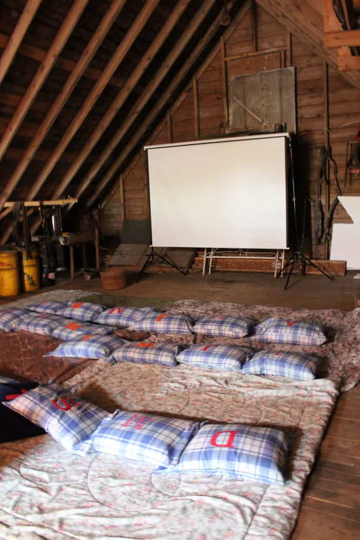 Movie night party in the barn