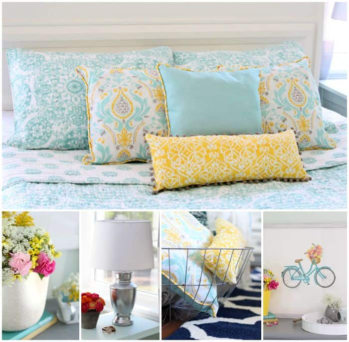 fresh blue and yellow bedroom