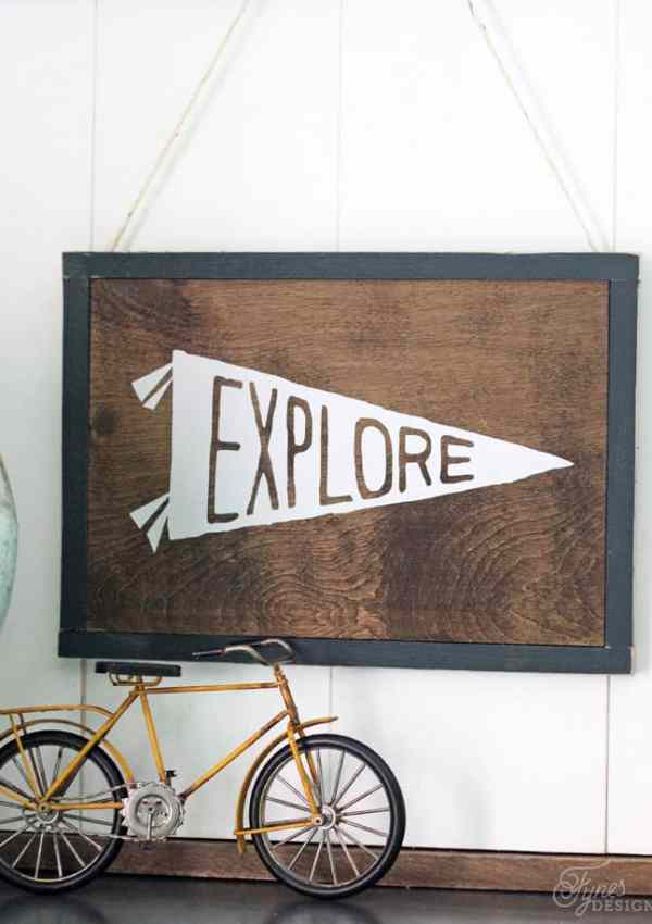 Did you know you can use HTV on wood?! Looks and feels like paint . Works awesome for fine lines- click to learn how to make this explore sign